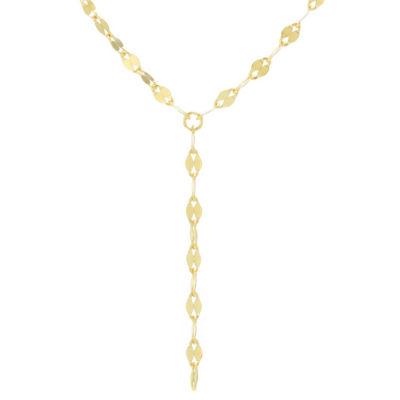 Silver Treasures Bezel Set Y-Necklace Womens 24K Gold Over Silver Y Necklace