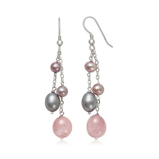Pink Quartz Cultured Freshwater Pearl Sterling Silver Drop Earrings