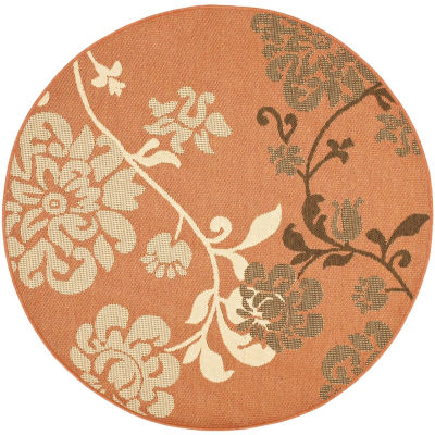 Safavieh Courtyard Collection Cole Floral Indoor/Outdoor Round Area Rug