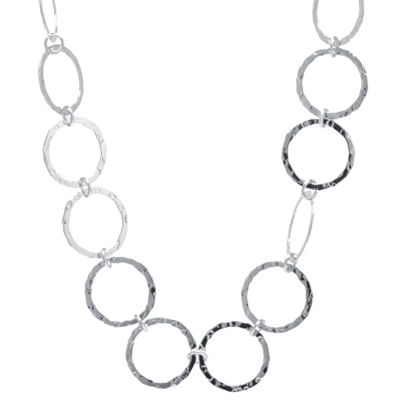 Silver Treasures Hammered Open Circle Womens Pure Silver Over Brass Statement Necklace