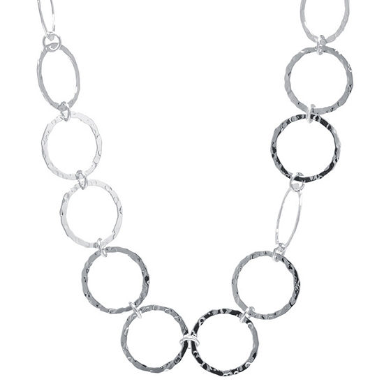 Silver Treasures Hammered Open Circle Pure Silver Over Brass 30 Inch Statement Necklace