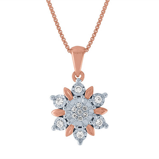 Diamond Blossom Womens 1/10 CT. T.W. Genuine Diamond 14K Rose Gold Over Silver Pendant