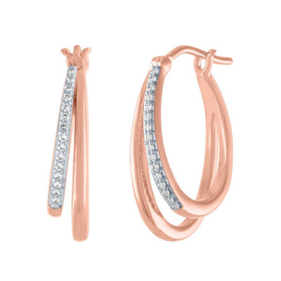 1/10 CT. T.W. Genuines Diamond 14K Rose Gold Over Silver 18.8mm Hoop Earrings