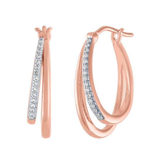 1/10 CT. T.W. Genuine Diamond 14K Rose Gold Over Silver 18.8mm Hoop Earrings