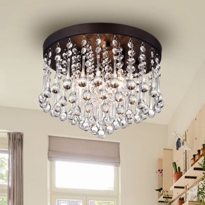 Warehouse Of Tiffany Gisela 3-light Crystal 12-inch Black-finish Flush Mount