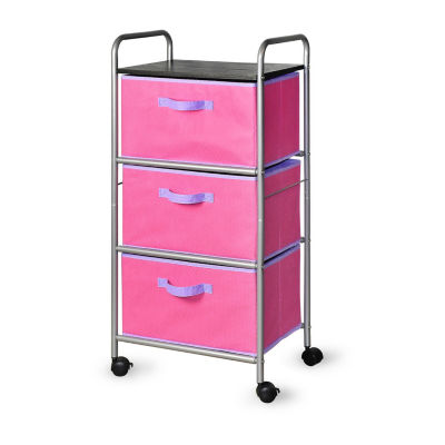 Bintopia™ 3 Drawer Cart with MDF Top - Pink/Purple Trim