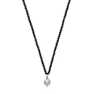 Womens 9.5M Black Spinel Cultured Freshwater Pearl Sterling Silver Strand Necklace