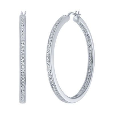 1/4 CT. T.W. Genuine Diamond Sterling Silver 37.9mm Hoop Earrings