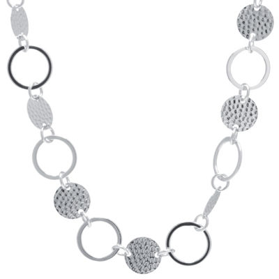 Silver Treasures Hammered Disc And Circle Womens Pure Silver Over Brass Statement Necklace