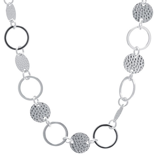 Silver Treasures Hammered Disc And Circle Pure Silver Over Brass 30 Inch Statement Necklace