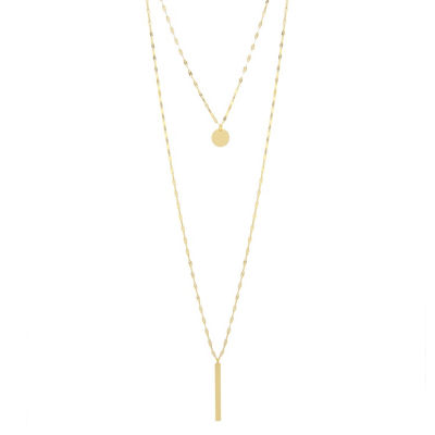 Silver Treasures Bar And Disc 2-Layer Womens Pure Silver Over Brass Y Necklace