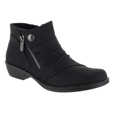 Easy Street Womens Sable Block Heel Zip Booties