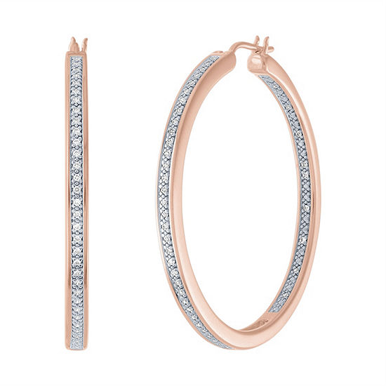 1/4 CT. T.W. Genuine Diamond 14K Rose Gold Over Silver 37.9mm Hoop Earrings