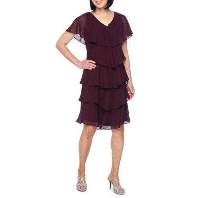 S. L. Fashions Short Sleeve Tiered Shift Dress
