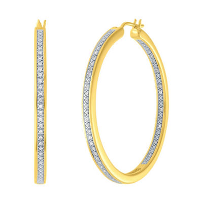 1/4 CT. T.W. Genuine Diamond 14K Gold Over Silver 37.9mm Hoop Earrings