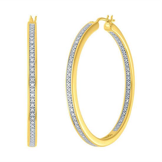 1/4 CT. T.W. Genuine Diamond 14K Gold Over Silver 37.9mm Hoop Earrings