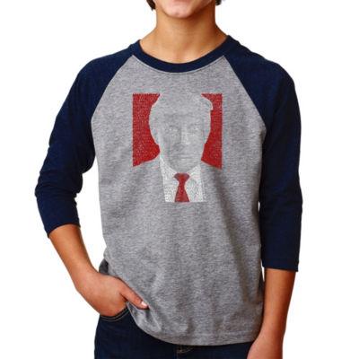 Los Angeles Pop Art Boy's Raglan Baseball Word Art T-shirt - TRUMP 2016 - Make America Great Again