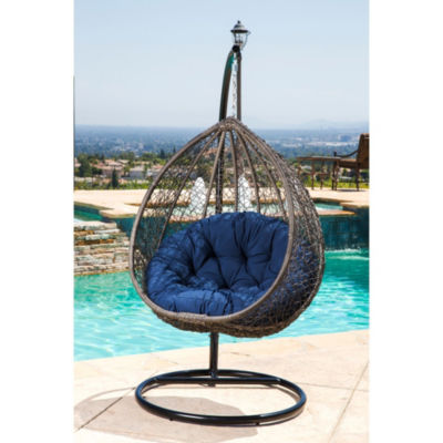 Shermans Outdoor Wicker Patio Swing Chair On Stand
