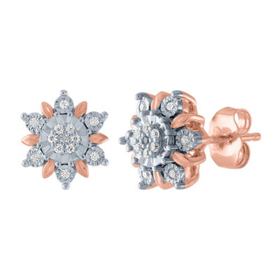 Diamond Blossom 1/10 CT. T.W. Genuine Diamond 14K Rose Gold Over Silver 10.6mm Stud Earrings