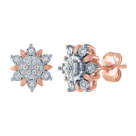 Diamond Blossom 1/10 CT. T.W. Genuine Diamond 14K Rose Gold Over Silver 10.6mm Stud Earrings