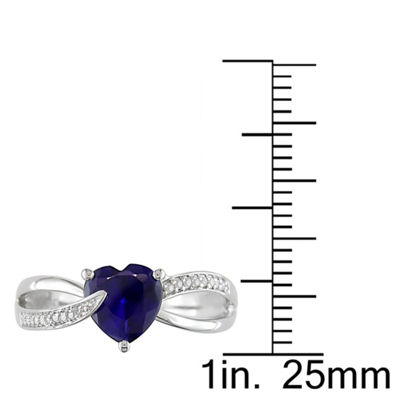 Womens Diamond Accent Blue Sapphire Sterling Silver Heart Cocktail Ring