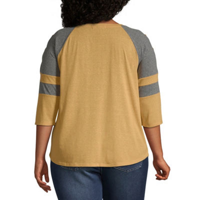 Derek Heart 3/4 Sleeve Round Neck Jersey Tee-Juniors Plus