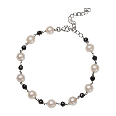 Womens 7 1/2 Inch Black Spinel Sterling Silver Chain Bracelet