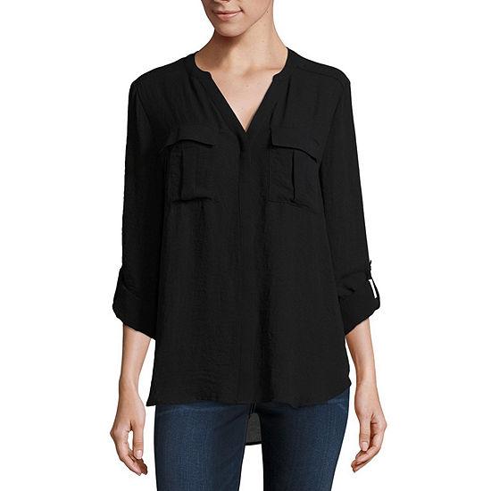 a.n.a Long Sleeve Pleat Pocket Shirt - Tall