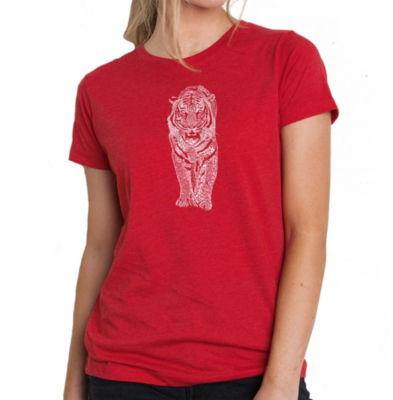 Los Angeles Pop Art Women's Premium Blend Word ArtT-shirt - TIGER