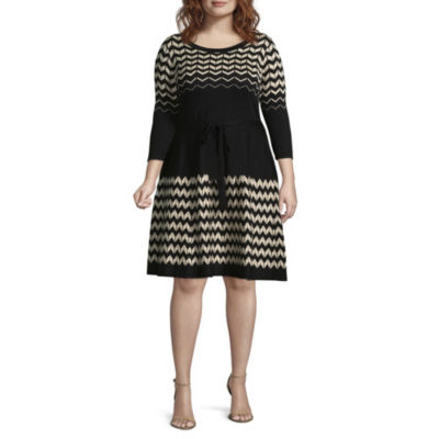 Danny & Nicole 3/4 Sleeve Chevron Fit & Flare Sweater Dress - Plus