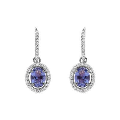 Simulated Purple Tanzanite Sterling Silver Drop Earrings