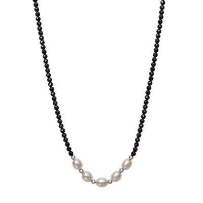 Womens 6MM Black Spinel Cultured Freshwater Pearl Sterling Silver Strand Necklace
