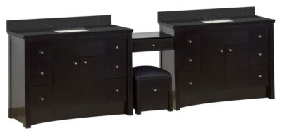 116.45-in. W Floor Mount Distressed Antique WalnutVanity Set For 3H4-in. Drilling Black Galaxy TopBiscuit UM Sink