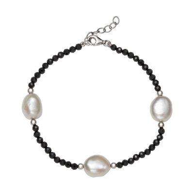 Black Spinel Cultured Freshwater Pearl Sterling Silver Beaded Bracelet
