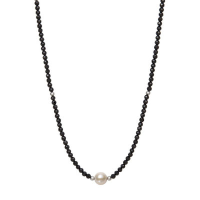 Womens 7.5MM Black Spinel Cultured Freshwater Pearl Strand Necklace