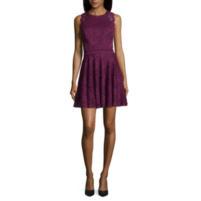 City Triangle Sleeveless Fit & Flare Dress-Juniors