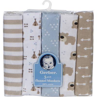 Gerber 5-pk. Unisex Baby Blanket - Brown Bear