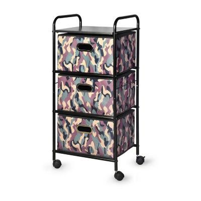 Bintopia™ 3 Drawer Cart with MDF Top - Green Multi/Black Trim