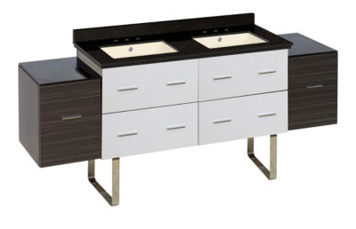 74.5-in. W Floor Mount White-Dawn Grey Vanity SetFor 3H8-in. Drilling Black Galaxy Top Biscuit UM Sink