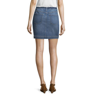 a.n.a Ana Studded Denim Mini Skirt Womens Short Denim Skirt