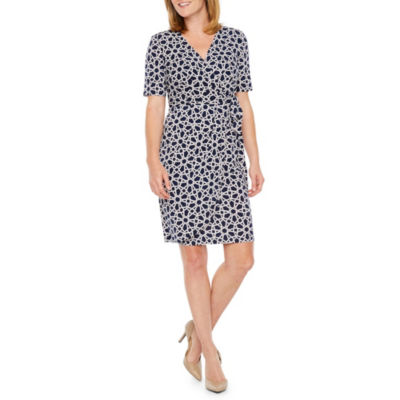 Liz Claiborne Short Sleeve Pattern Wrap Dress