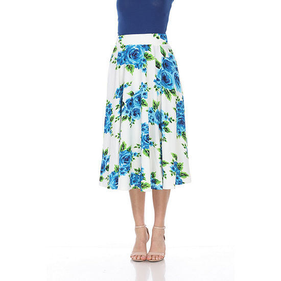 White Mark Floral Midi Skirt