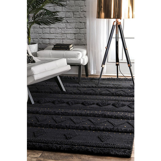 nuLoom Durden High Low Geometric Wool Woven Rug