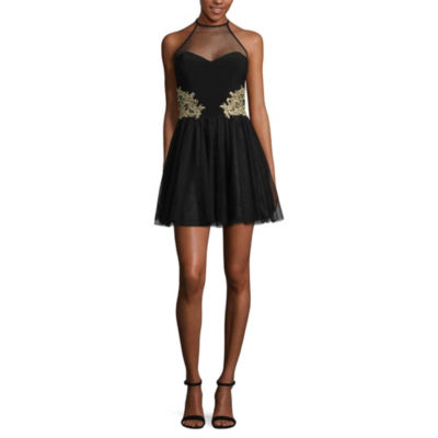 DJ Jaz Blondie Nites Sleeveless Applique Party Dress-Juniors