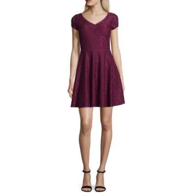 My Michelle Short Sleeve Drop Waist Dress-Juniors