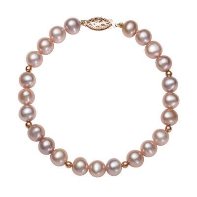 White Cultured Freshwater Pearl 14K Rose Gold Beaded Bracelet