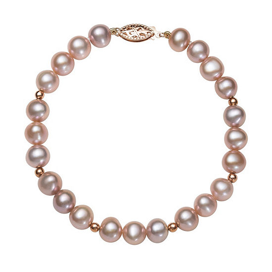 Pink Cultured Freshwater Pearl 14K Rose Gold Beaded Bracelet