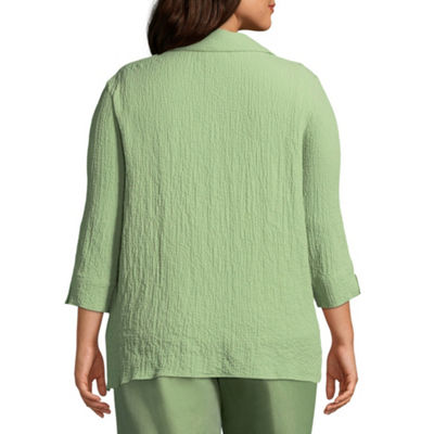 Alfred Dunner Parrot Cay Bubble Gauze Layered Blouse - Plus