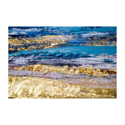 New View Painted Shore Framed Foil Canvas Canvas Art