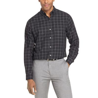 Van Heusen Mens Long Sleeve Stripe Button-Front Shirt